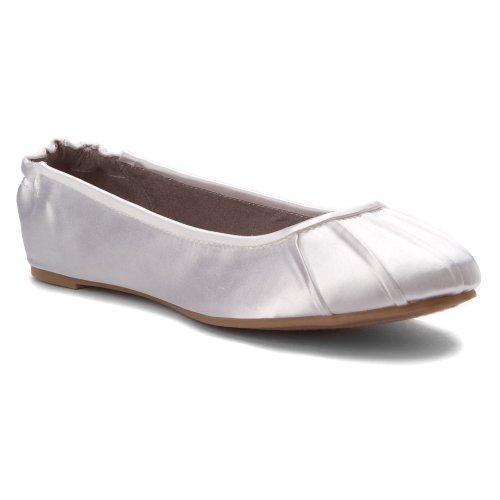 Dylaes Womens Bella Flats Schoenen Wit Satijn