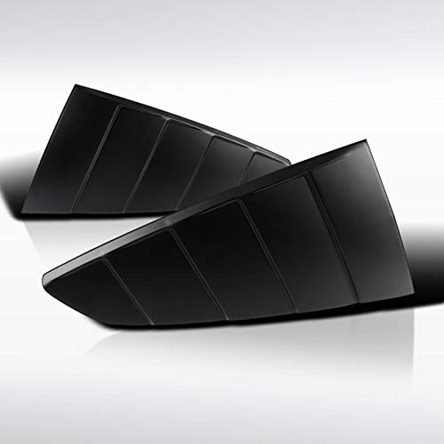 Autozensation For Ford Mustang Glossy Black 1/4 Rear Side Vent Window Louver Scoop Cover ()