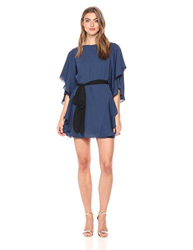 (Halston Heritage Women's Flutter Sleeve Boatneck Shift Dress with Sash, Navy/Black, Extra Small)