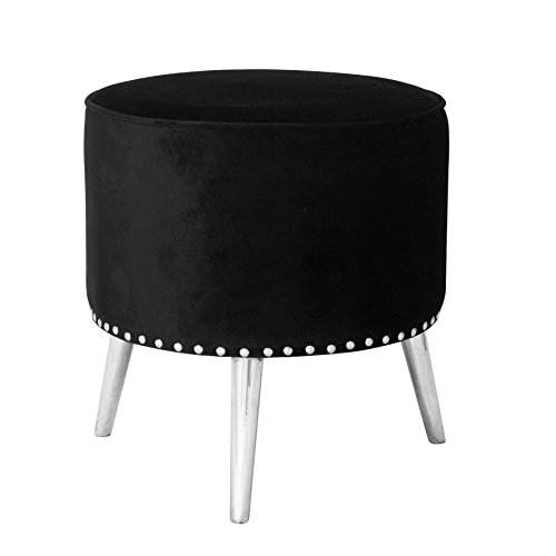 Uptown Club GM1911 Clover Collection Ultra Modern Round Fabric Upholstered Ottoman with Wooden Splayed Leg Finish and Nail Head Trim, Black/Metal
