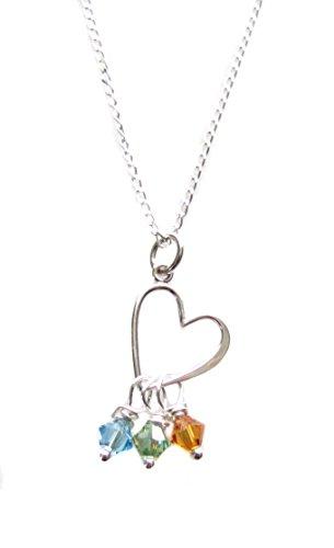 [Custom Open Heart Charm Children Swarovski Birthstone Crystals Sterling Silver Necklace 18
