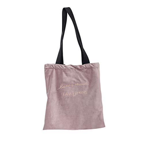 Main Bandoulière À Mode Tote Femmes Fenical Sac rose Filles Bag Velvet La Pour Retro RAYfqF
