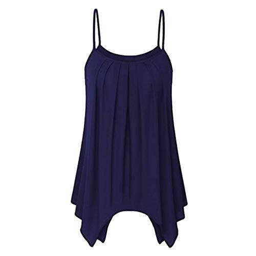 AgrinTol Women's Summer Casual Blouse Sleeveless O-Neck Irregular Hem Vest Tank Top -