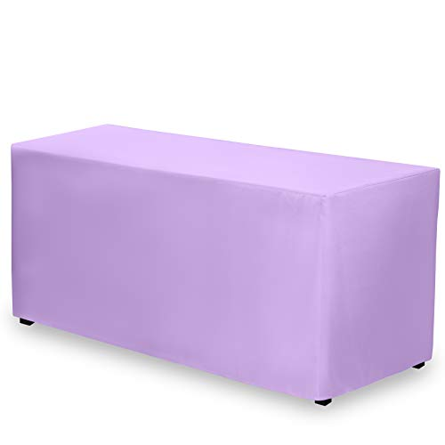 (Gee Di Moda Fitted Tablecloth - 72 x 30 Inch - Lavender Fitted Rectangle Table Cloth for 6 Foot Table in Washable Polyester - Great for Buffet Table, Parties, Holiday Dinner, Wedding & Trade Show)