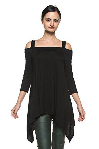 Women's Open Off Shoulder Gypsy Boho Trapeze Handkerchief Hem Top Shirt Blouse (Medium, (Gothic Medieval Clothing)