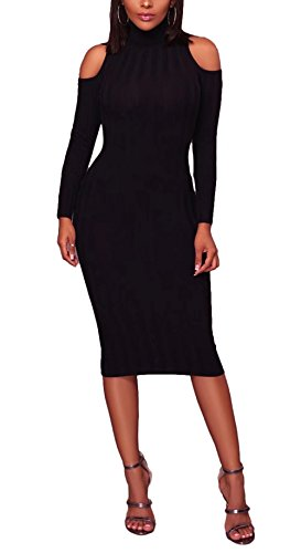 FOUNDO Womens Turtleneck Cold Shoulder Ribbed Long Sleeve Bodycon Sweater Dress Black S