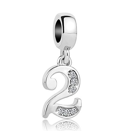Cherris Lucky Number 0-9 Charms Dangle Crystal Charms Beads Snake Chain Bracelets (2)