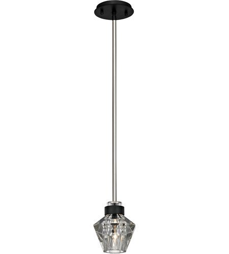 Mini Pendants 1 Light With Forged Iron and Polished Nickel Finish Hand-Worked Iron and Pressed Glass Material Candelabra 7 inch Long 60 (Light Forged Iron Mini Pendant)