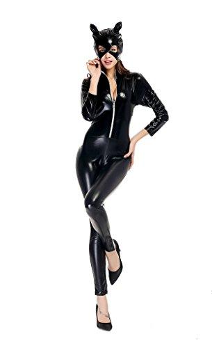 TESOON Women's Goth Punk Pu Faux Leather Catsuit Teddy Clubwear for $<!--$20.50-->