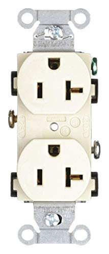 Hubbell Wiring Device-KELLEMS 20A Commercial Environments Receptacle, Ivory; Tamper Resistant: No