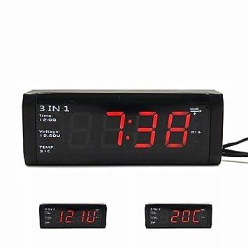 3-en-1 de fitness para coche digital con voltímetro termómetro y reloj para 12 V/24 V: Amazon.es: Electrónica