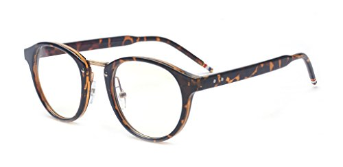 ALWAYSUV Vintage Inspired Classic Half Frame Horn Rimmed Clear Lens - Rimmed Prescription Horn Glasses