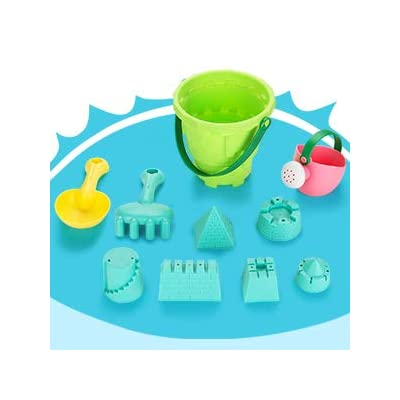 FITNATE Beach Toys Set Soft Plastic Pool Toys, Bath Toys for Kids, Boys, Girls& Toddler, 10PCS with Mesh Bag , Bucket, Shovels, Rakes, Lots of Sand Molds (BPA Free): Toys & Games