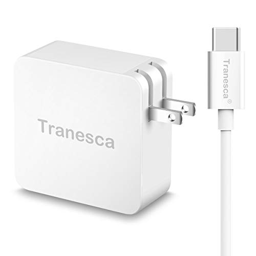 Tranesca 65W Type C Wall Charger with 6ft Type c Cable for Charging MacBook Pro/Air 2018,iPad Pro 2018, Nexus 6P, LG G6, Pixel C/3/2/XL, Nintendo Switch and More (All Type C Charging Enabled Devices) Apple 65w Portable Power Adapter