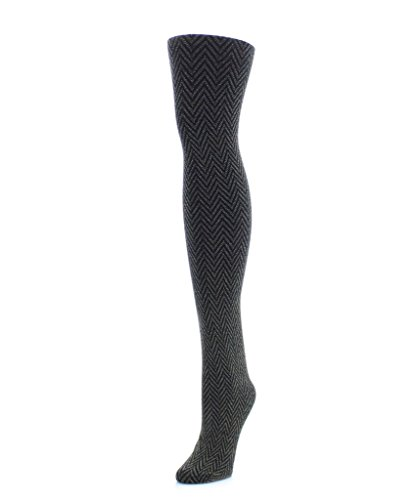 Memoi Textron Glam Tights Black Silver Small Medium