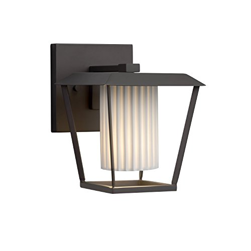 Limoges - Patina Small 1-Light Outdoor Wall Sconce - Cylinder with Flat Rim Translucent Porcelain Shade with Pleats Design - Matte Black Finish (Porcelain Transitional)