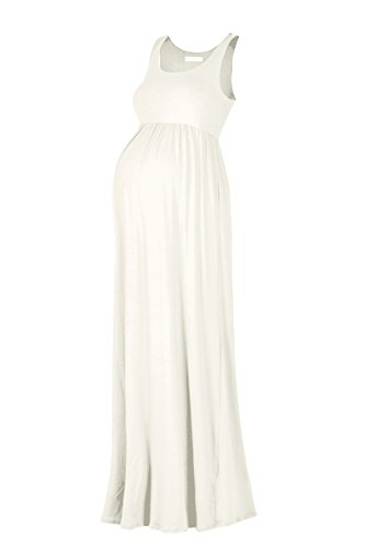 Beachcoco Women's Maternity Maxi Tank Dress (M, Off White)
