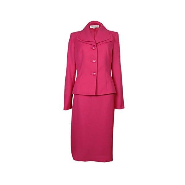 Kerrian Online Fashions 31%2B4OXwhC4L Evan Picone Women's Piece Double Collar Jacket Skirt Suit Set, Daisy Pink (10)