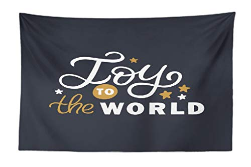 FINOY Joy Tapestry Wall Hanging,Lettering with Stars Christmas Joy World Greeting Tapestry Wall Art,Throw Tapestry for Bedroom 30L x 45W Lettering Stars