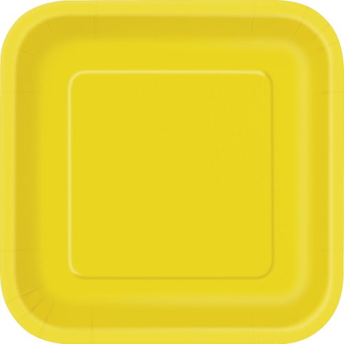 Square Yellow Paper Cake Plates, - Yellow Paper Plates Made In Usa