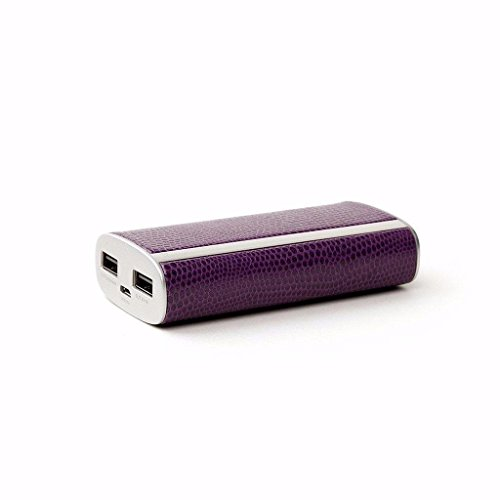 (HALO Pocket Power 6000 Portable Phone Tablet Battery Charger Fast Charge Power Bank with 2 USB Ports and Micro USB Cable - Purple Snakeskin)