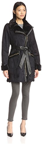 Via Spiga Women's Faux Shearling Asym Belted Coat, Black L