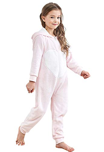 Anna King Kids Animal One-Piece Pajamas Costume Hooded Cosplay Onesies Plush Sleepwear for Girls & Boys Rabbit Size 4]()