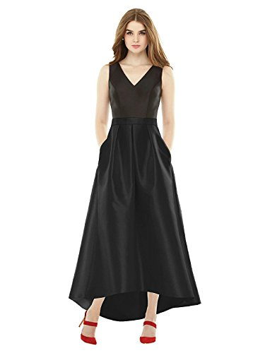 Forever Alfred Sung Style D723S High-Low Sateen Pleated Skirt Formal Dress - Sleeveless V-Neck - Black - 10 - Alfred Sung Bridesmaid Gowns