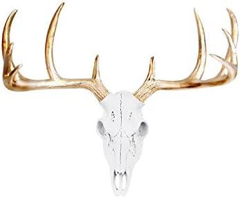 Wall Charmers Large White Gold Antler Faux Deer Skull Decor – 21 inch Faux Taxidermy Animal Head Wall Decor – Handmade Farmhouse Decor
