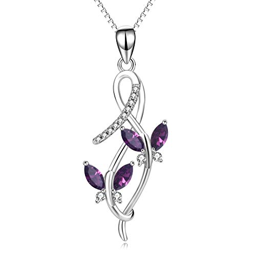 (AOBOCO Sterling Silver Infinity Butterfly Pendant Necklace with Amethyst Swarovski Crystals, Fine Jewelry Anniversary Birthday Gifts for Women Girls)