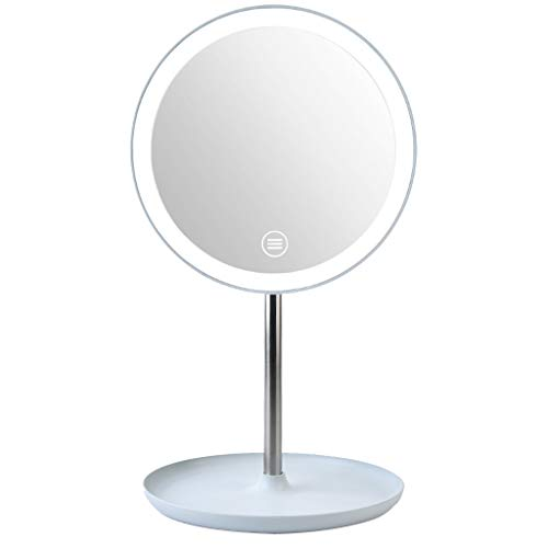 (JonerytimeMakeup Mirror with Natural White LED Daylight Detachable/Storage Base 3 Modes Touch Control 360°Rotation (Blue) )