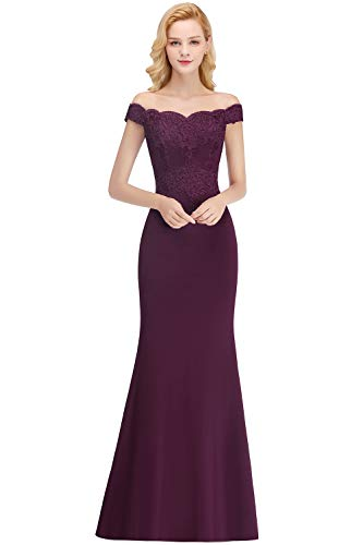 MisShow Saclloped Neckline Off Shoulder Mermaid Junior's Bridesmaid Dress,Purple,2
