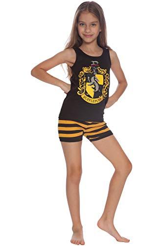 HARRY POTTER 'Hufflepuff House Crest' Cotton Tank Short Pajama 2pc Set, Hufflepuff, 14