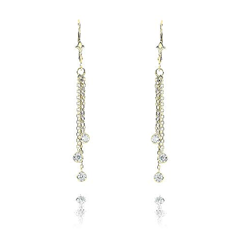 (14k Yellow Gold Chandelier Earrings with Dangling Diamond Stations 0.60 Carat)