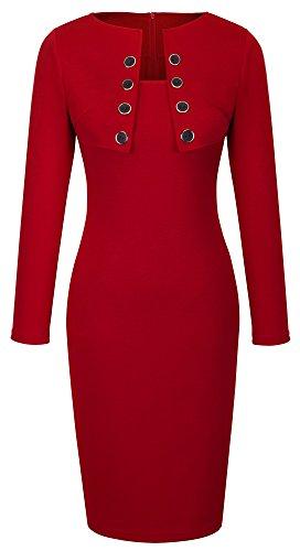 Homeyee B10 - Vestido formal para mujer, cuello cuadrado, elegante Rosso