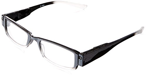 EVIDECO LED Reading Glasses with Light, LG Black Optic By Finess Power +2