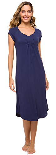 WiWi Sleepwear Womens Bamboo V Neck Nightdress Sleeveless Long Nightgown S-XL, Navy, Small