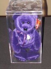 Princess Diana Ty Beanie Baby Bear - Mint w/ Collectible Display Case