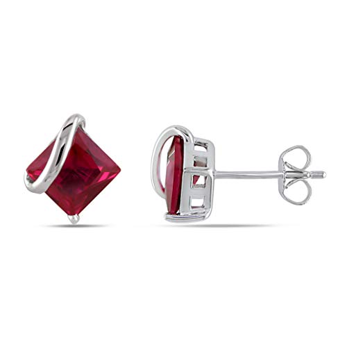 2.25ct Ruby Square Cut Prong Setting Earrings in 14k White Gold Plate Over Silver ()