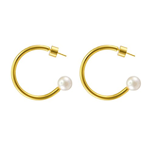 925 Sterling Silver Post 14k Gold Plated Open Cuff Hoop Earrings Natural Gemstone Pearl Hooped Stud Post Minimalist Earrings Gifts for Women Ladies Girls (C Shape Gold & Pearl)