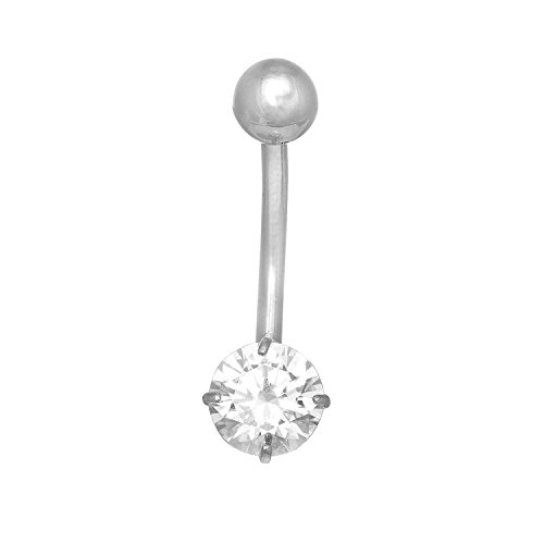 JewelStop 14k Solid Gold White Belly Button Round CZ Navel Ring Body Jewelry