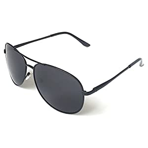 J+S Premium Military Style Classic Aviator Sunglasses, Polarized, 100% UV protection (Large Frame - Black Frame/Black Lens)