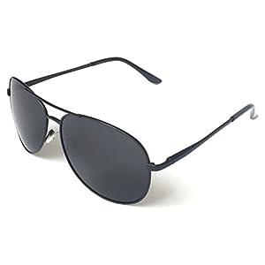 J+S Premium Military Style Classic Aviator Sunglasses, Polarized, 100% UV protection (Medium Frame - Black Frame/Black Lens)