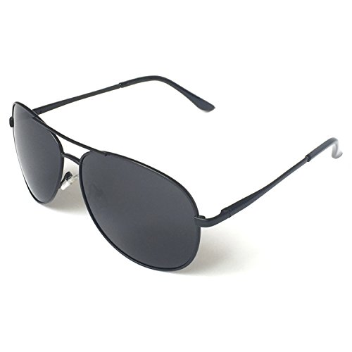 J+S Premium Military Style Classic Aviator Sunglasses, Polarized, 100% UV protection (Medium Frame - Black Frame/Black Lens)