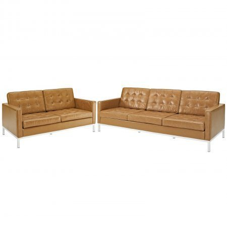LexMod Loft 2-Piece Loveseat and Sofa Leather Set, - Set Leather Sofa Loft