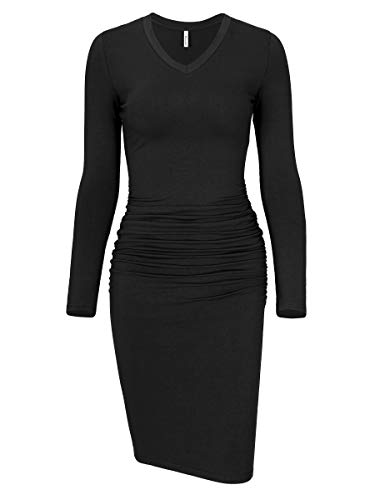 Missufe Women's Ruched Bodycon Sundress Midi Fitted Casual Dress (Long Sleeve Black-02, Medium)