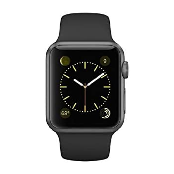Apple Watch 38mm Aluminum Case Sport with Black Sport Band (Certified Refurbished)
