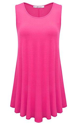 JollieLovin Womens Sleeveless Comfy Plus Size Tunic Tank Top with Flare Hem - Rosepink, L by JollieLovin