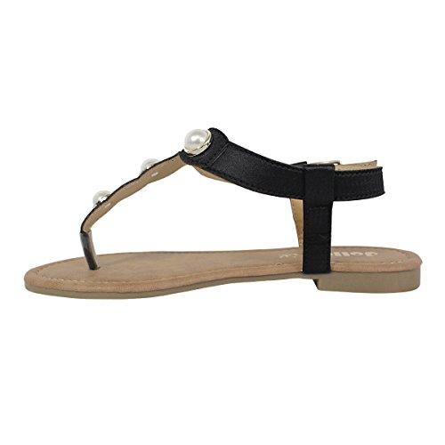 Dollymix Veta-180 T-strap String Platte Sandaal Met Parels Zwart