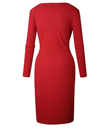 Knit long Red Party Dress Single Women Pure Luxury Breasted Mid Color Coolred qf7tpz